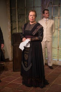 "Carrie Cohen as Mrs Tarleton, ""Misalliance"", Tabard Theatre 2014. Photo by Abby Warren"